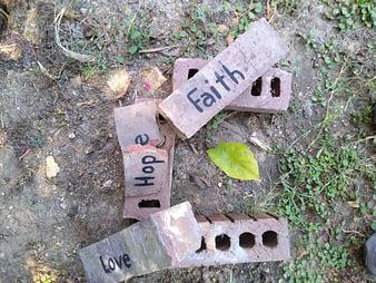 Hope is the foundation for faith. broken brick